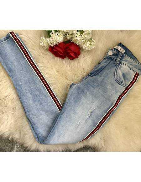 """Mon new Jeans """"bandes blanches et rouges"""""""