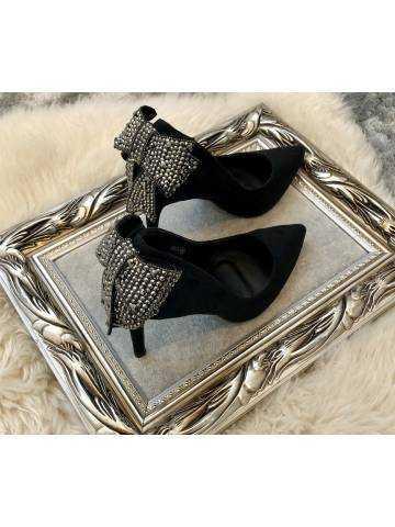 """Mes escarpins noires style daim """"nœud précieux"""""""
