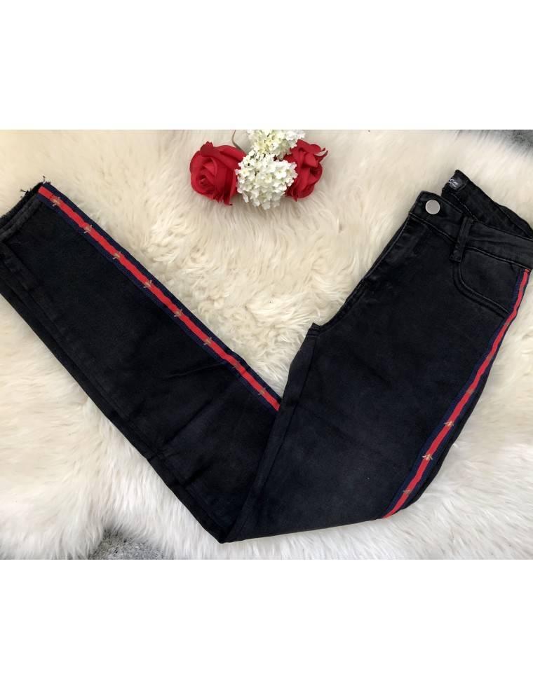 mon jeans noir bande rouge et abeilles mylookf minin. Black Bedroom Furniture Sets. Home Design Ideas