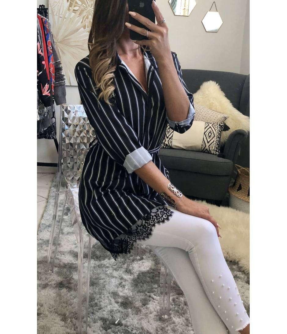 mon chemisier long noir ray blanc dentelle mylookf minin in look un concept un prix. Black Bedroom Furniture Sets. Home Design Ideas