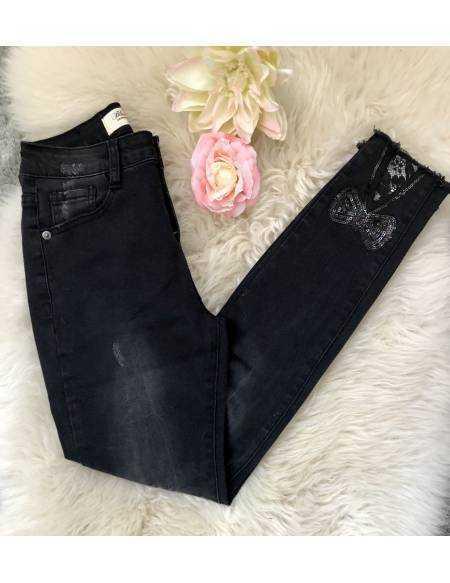 Mon new jeans black , strass noeuds et dentelle