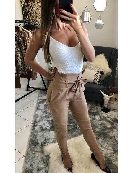 """Mon pantalon taille haute """"beige nude"""""""