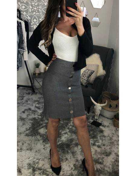 Ma jupe mi-longue grise boutonnée