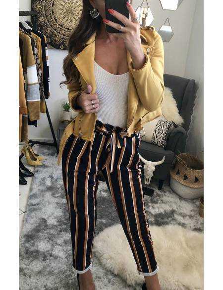 """Mon pantalon rayé """"moutarde"""""""
