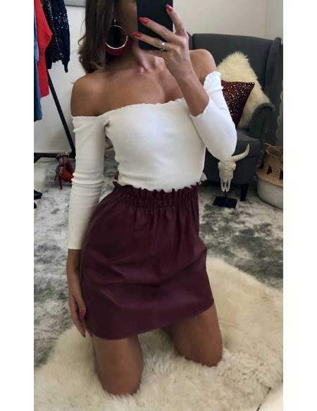 """Ma petite jupe style cuir """"bordeaux"""""""