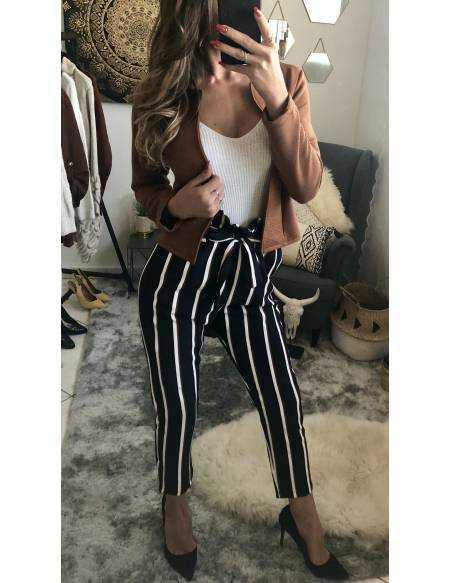 "Mon pantalon rayé ""caramel/black"" 2"