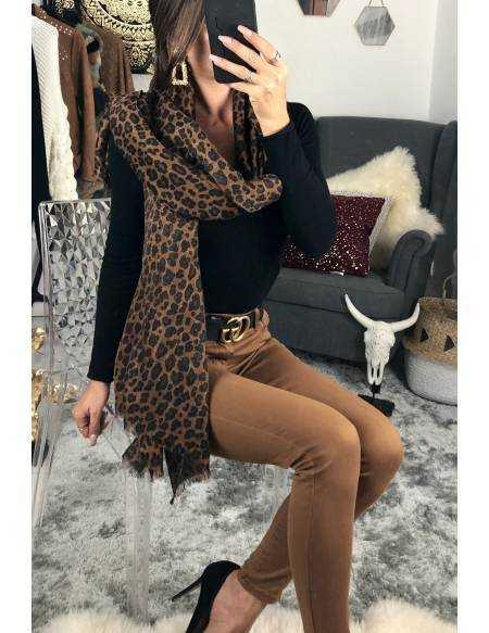 """Mon joli foulard """"léopard camel"""""""