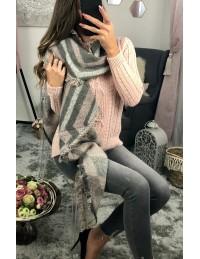 Grande écharpe réversible rose et gris chiné