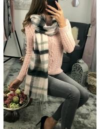 Grande écharpe à carreau rose et gris 2
