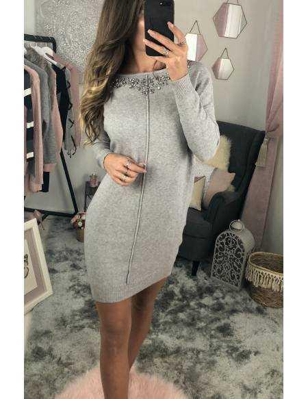 Ma jolie robe pull gris clair