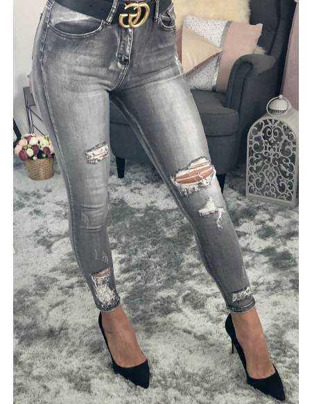 """Mon jeans gris """"destroy et délavé"""""""