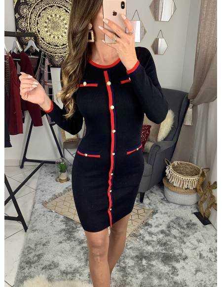"Ma jolie robe noire bandes rouges ""so chic"""