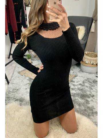 Ma jolie robe longue noire côtelée