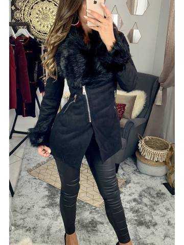 """Mon joli manteau noir """"col style fourrure"""""""