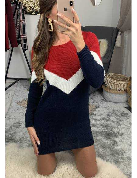Ma robe pull en maille marine/rouge
