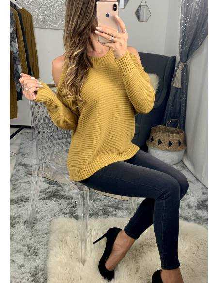Pull en maille loose moutarde