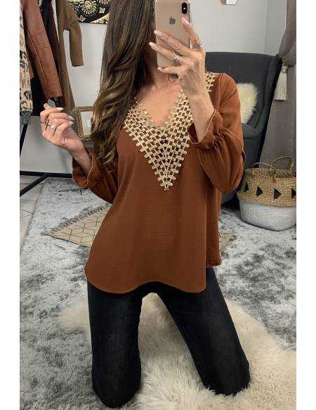 Ma jolie blouse camel and gold