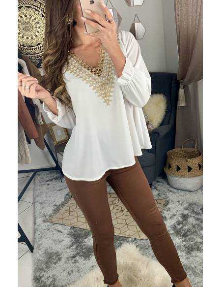 Ma jolie blouse white and gold
