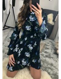"""Ma jolie robe bleue marine imprimée """"manches volants"""""""
