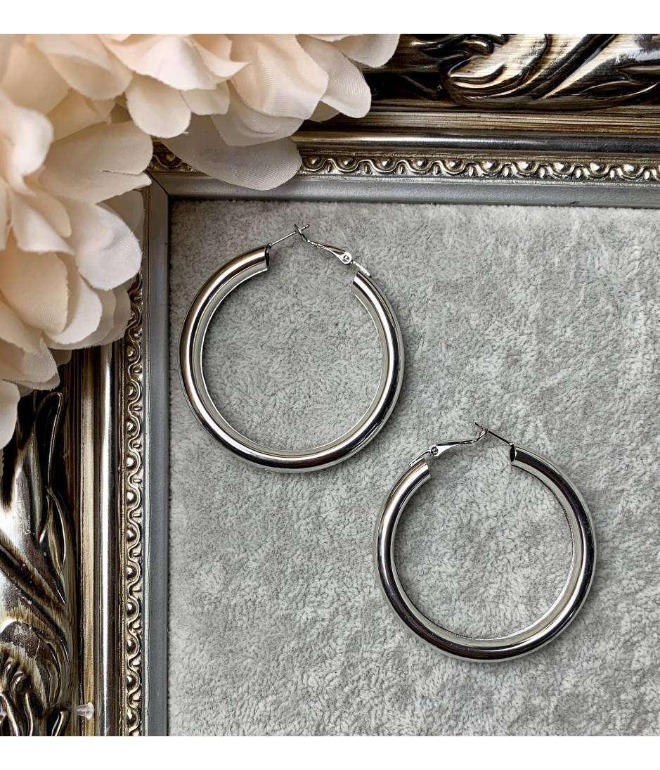 """Mes boucles d'oreilles créoles """"métal silver"""""""
