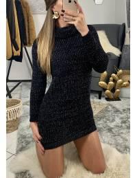 """Ma robe en maille basic """"noir lumineux et col roulé"""""""
