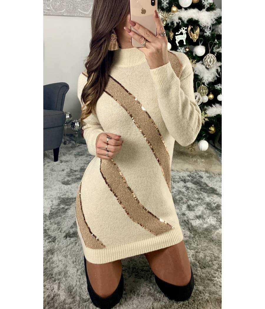 Ma superbe robe pull nude/gold et sequins