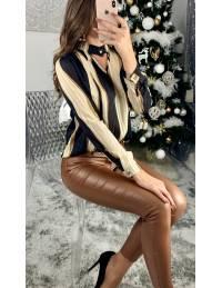 "Ma jolie blouse ""black/beige caramel"""