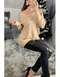 """Mon pull loose beige/caramel """"col strass"""""""
