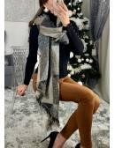 Grande écharpe réversible joli gris chiné et lumineux