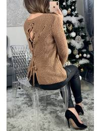"Pull en maille caramel lumineux ""dos lacet"""