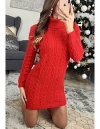 """Ma jolie robe en maille rouge """"tresses et col roulé"""""""