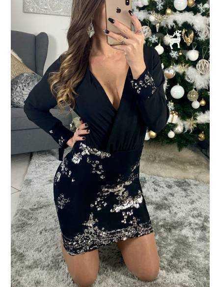 "Ma jolie robe noir cache coeur ""sequins silver"""