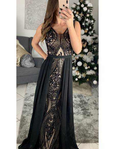 "Ma superbe robe longue de cocktail ""black and nude"""