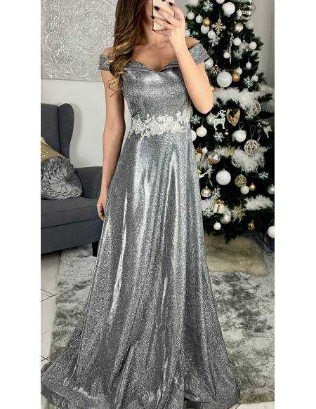 "superbe robe longue de cocktail ""silver shinny and strass"""