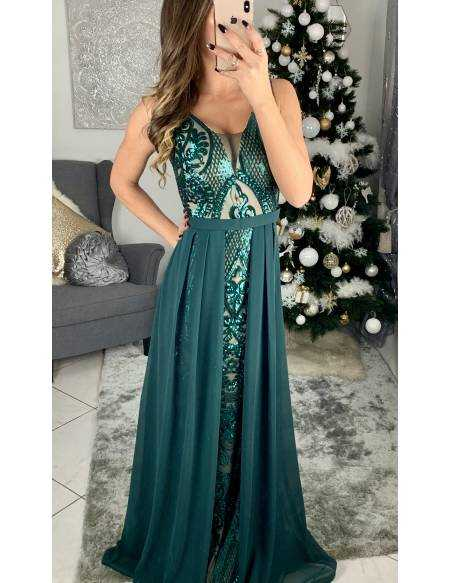 "Ma superbe robe longue de cocktail ""green and nude"""