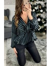 Ma superbe blouse black satinée et rayée