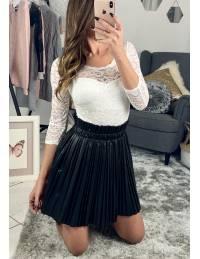 Ma jupe black plissée style cuir