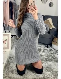 """Ma robe en maille basic """"gris clair lumineux et col roulé"""""""