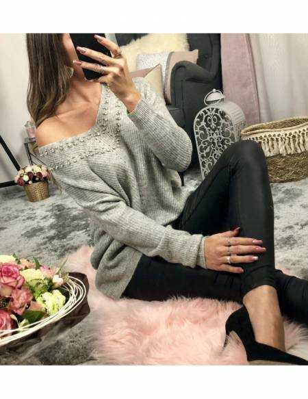 """Mon pull loose gris clair """"col strass"""""""