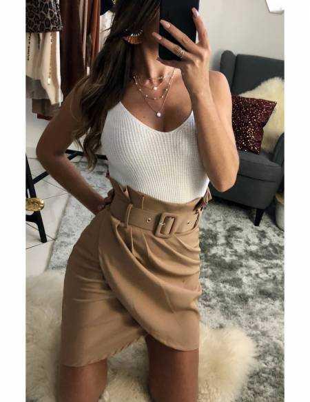 """Ma jolie jupe beige plissée et sa ceinture"""""""