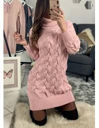 "Ma jolie robe rose ""maxi maille et tresse"""