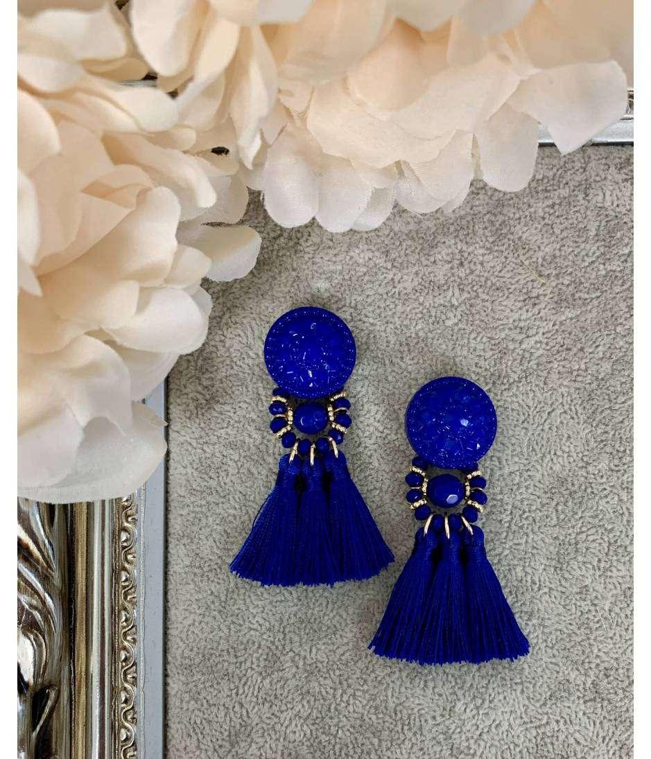 "Mes boucles d'oreilles bleu roi ""joli pompon""  mini"