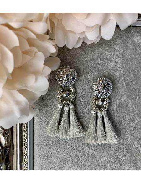 """Mes boucles d'oreilles silver """"joli pompon""""  mini"""