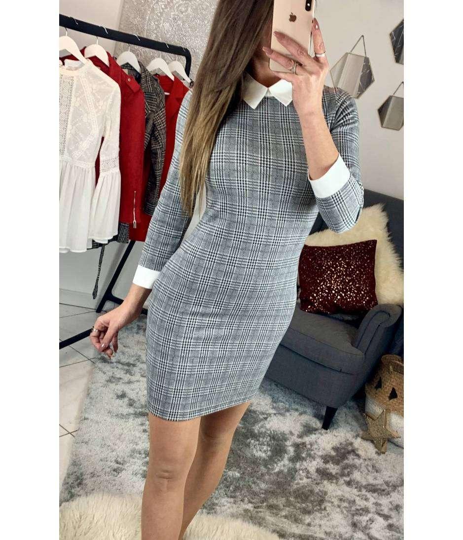 ab5eee6759e Ma petite robe grise à carreaux