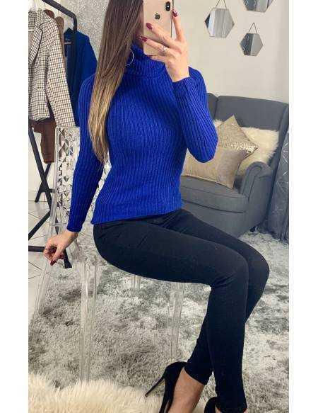 """Mon pull col roulé """" bleu roi"""" 2"""