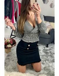 Ma jolie jupe black style tweed et boutons dorés