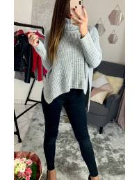 """Pull gris clair en maille lumineuse """"oversize"""""""