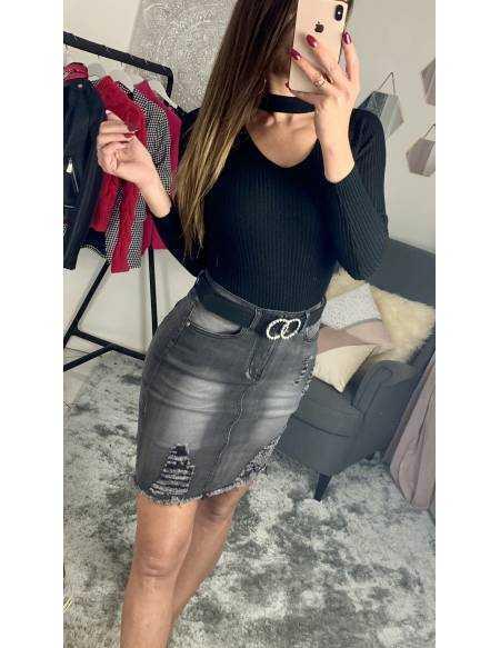 Ma jolie jupe en jeans grey délavé
