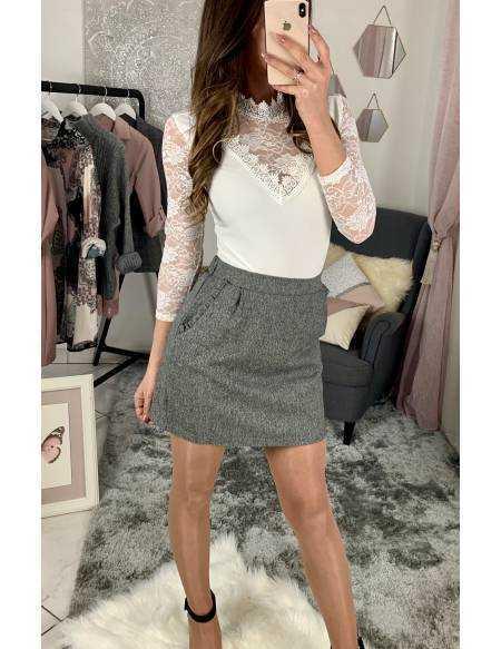 Ma jolie jupe droite gris lumineux