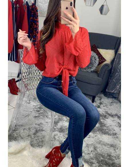 """Ma jolie blouse rouge plumetis """"nouée"""""""
